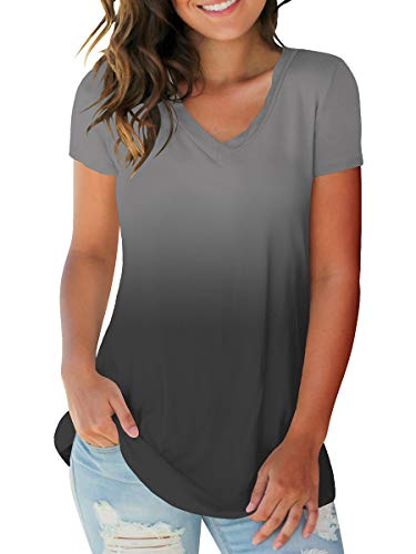 Womens Summer Short Sleeve Tops Casual Loose Fitting Shirts Ombre Grey (Best Shirt For Women)