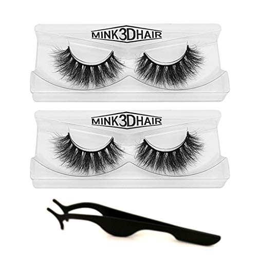 3D Mink Lashes Hand-made Dramatic Makeup Strip Lashes 100% Fur Fake Eyelashes Thick Crisscross Deluxe False Lashes Black Nature Fluffy Long Soft 2 Pair Package