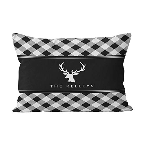 - Suike Buffalo Plaid White and Black Personalized Pretty Hidden Zipper Home Decorative Rectangle Throw Pillow Cover Cushion Case 16x24 Inch One Side Design Printed Pillowcase