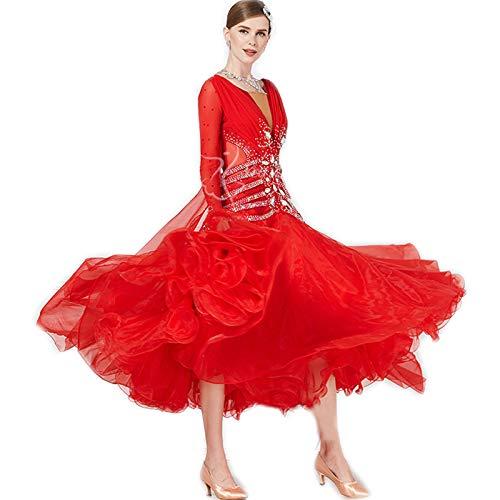 garuda★オーダーメイドドレス社交ダンスセミオーダー レディース競技試合ダンスドレス 高級品 ゴージャス宝石飾り 赤色 ロング レッド セミオーダー