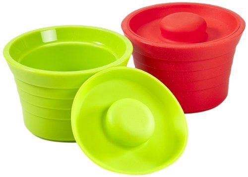 Kinderville Little Bites Silicone Storage Jars, Set of 2, in Red/Green