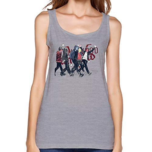 Luamin Women's Tank Top Hollywood Undead Sketch Tee Gray