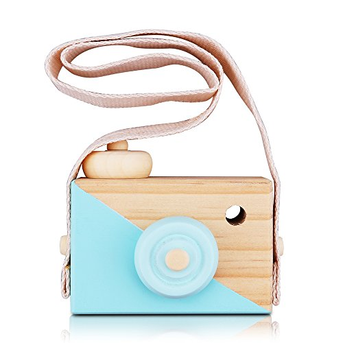 PCloud Kids Wooden Mini Camera Toy Natural Cute Wood Camera Sharpe Toy with Neck Strap for Baby Toddlers Children, Kids Room Hanging Decor,Perfect Birthday (Blue)