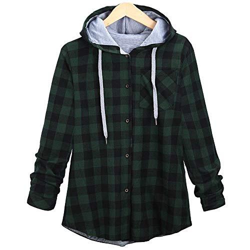 2018 Hoodie,Women's Long Sleeve Plaid Cardigan Jacket Blouse Overcoat ()