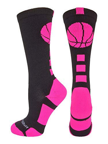 MadSportsStuff Basketball Logo Athletic Crew Socks, Medium - Black/Neon Pink
