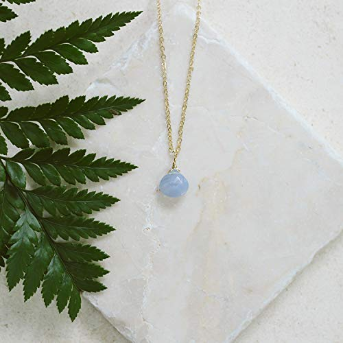 Tiny blue lace agate teardrop necklace in 14k gold fill - 16