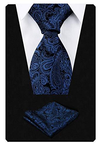 Men's Paisley Floral Tie Handkerchief Wedding Woven Necktie Set, Navy