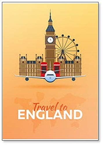 Travel To England. Airplane With English Attractions - Classic Fridge Magnet