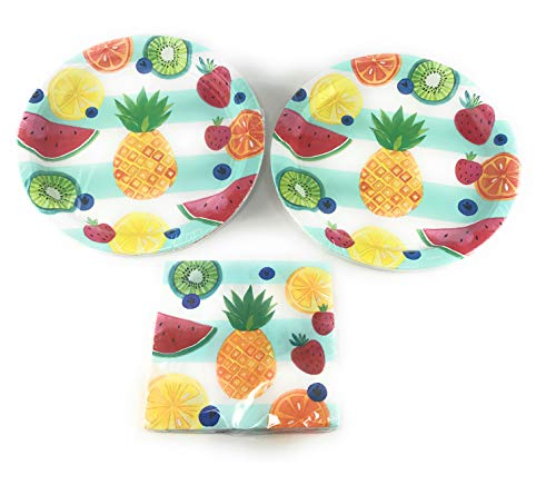 Hello Summer Partyware-Includes 16-10.5 Plates and 16 Luncheon Napkins (12 7/8 X 12 7/8) in Colorful Fruit Design! High Quality!