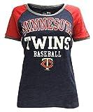 New Era Women's MLB Minnesota Twins Scoop T-Shirt Glitter Logo Tee 11537351 Blue