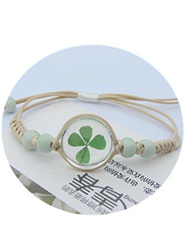 (SDFBMJN Real Flower Bracelet, Flower Girl Bracelet, Dried Flower Jewelry, Gift for Bridesmaid Bracelet, Four Leaf Clover Bracelet )