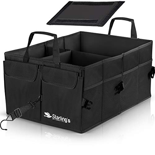 Starlings Car Trunk Organizer - Super Strong, Foldable Storage Cargo Box for SUV, Auto, Truck - Nonslip Waterproof Bottom, Fits Any Vehicle, Come with Adjustable Tie-Down Straps, Black