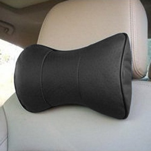 Cosmos ® 2 PCS Black Leather Dog Bone Shape Car Neck Pillow/cushion with Cosmos Fastening Strap ()