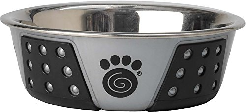 PetRageous Fiji 1.75 Cups Stainless Steel Bowl in Light Gray/Black