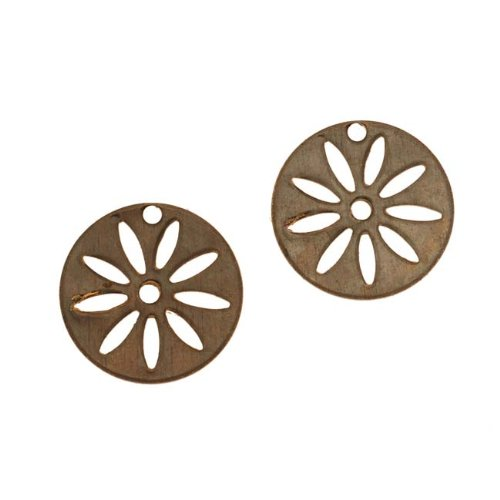 Flower Disc Charm (Vintaj Natural Brass Round Disc Flower Stencil Charms 16mm (2))