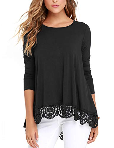 (RAGEMALL Women's Tops Long Sleeve Lace Trim O-Neck A-Line Tunic Blouse Tops for Women Black XL)
