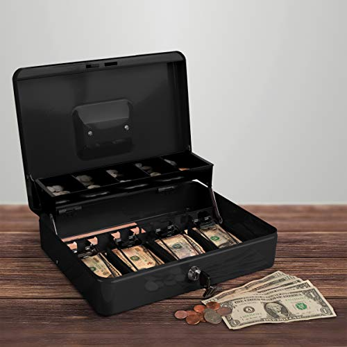 Stalwart Cash Box - Locking Steel Petty Cash Safe with Coin Tray and Spring-Loaded Money Clips for Yard Sale, Market and Concession Stand (Black)