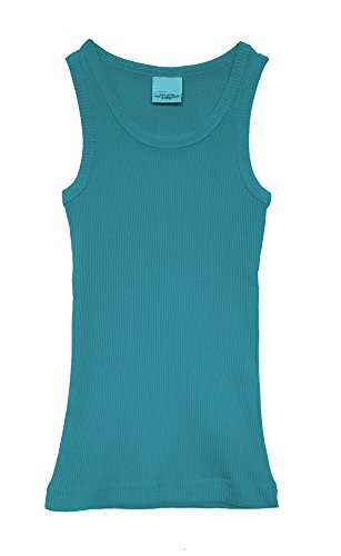 Blu Ribbed Tank Top - Popular Little Girl's Cotton Classic Ribbed Tank Top - Blue - 7/8