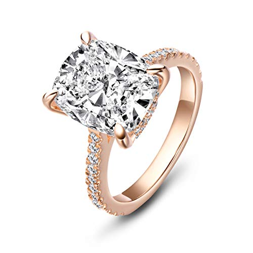Erllo 6 Carat Clear Cushion Cut CZ Cubic Zirconia Solitaire Wedding Engagement Ring 925 Sterling Silver (Rose-Gold-Plated-Silver, 7.5)