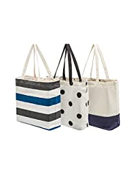 Planet E Reusable Grocery Shopping Bags – Fashionable Multi-purpose Canvas Totes With Easy Snap Closure (Pack of 3)