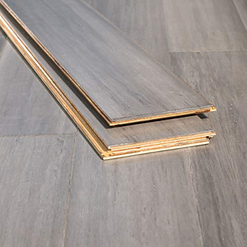 Ambient Bamboo - Bamboo Flooring Sample, Color: Ashwood Distressed, Engineered Click Lock