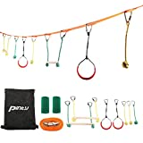 Pinty 40 Foot Slackline Monkey Bar Kit, Line Hanging Obstacle Course Set for Kids - 2 Monkey Bars, 2 Gymnastics Rings, 3 Fists, 250lb. Load Capacity, Tree Protector & Carrying Bag Included