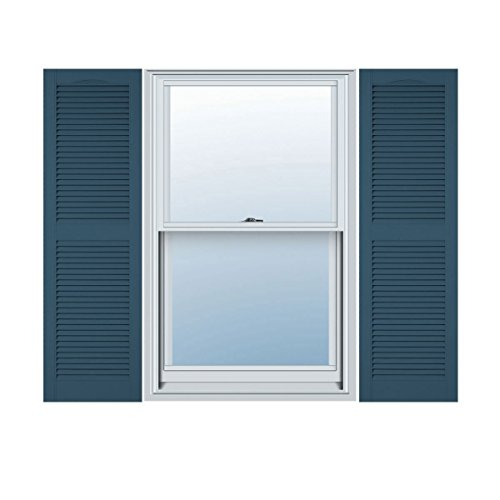 12''W x 64''H Standard Size Cathedral Open Louver Shutter, w/Installation Shutter-Lok's, 036 - Classic Blue by ArchitecturalDepot.com