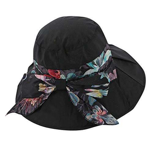 HYIRI Mountaineering Womens Visor Hat Sun Hat Adjustable Foldable Empty Top Hat Black