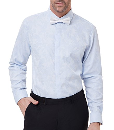 (PAUL JONES Men's Paisley Print Casual Long Sleeve Party Dress Shirt M Light Blue )