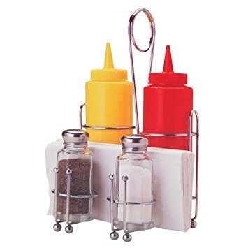 Tablecraft H594108 Products Retro Condiment Caddy Set, 1 Pack, Stainless Steel