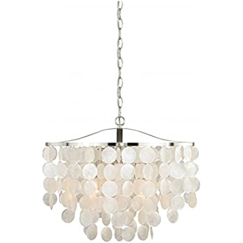 Capiz chandelier centerpiece suitable for high and low ceiling rooms vaxcel p0139 elsa capiz shell pendant 20 satin nickel finish mozeypictures Image collections