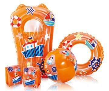 Summer Waves Kids Swimming Pool Set Inflatable Beach Ball, Ring, Armbands & Surfer, 5 Piece, Orange by Summer Waves