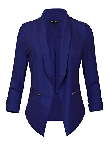 Instar Mode Women's Lightweight Fly Away Thin Chiffon Ruched Sleeve Opened Blazer (B61018 Royal, Large)