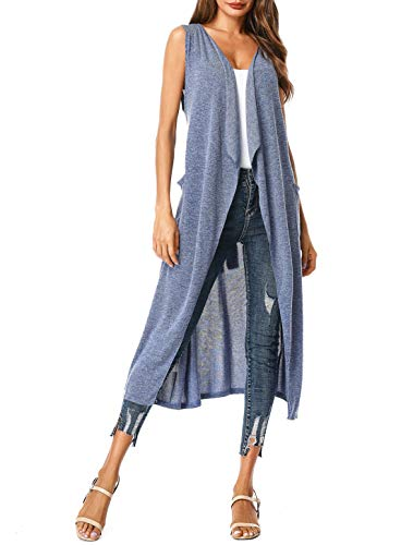 (UUANG Women's Lapel Collar Waterfall Solid Knitted Open Front Long Coat Cardigan Vest (Blue,L))