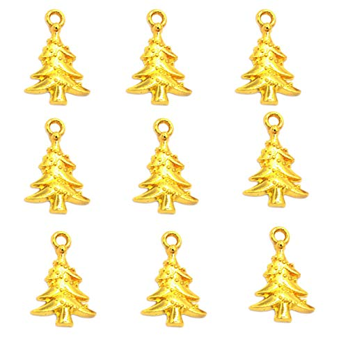 Christmas Tree Charm - 100pcs Vintage Antique Gold Alloy Christmas Tree Charms Pendant Jewelry Findings for Jewelry Making Necklace Bracelet DIY 21x14mm(100pcs Gold)