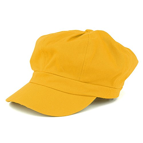 Women's Lightweight 100% Cotton Soft Fit Newsboy Cap with Elastic Back - Yellow -