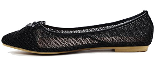 Flat Shoes bride Flat Shoes wedding Mesh for shoes Walstar Black q4nwF8IZn