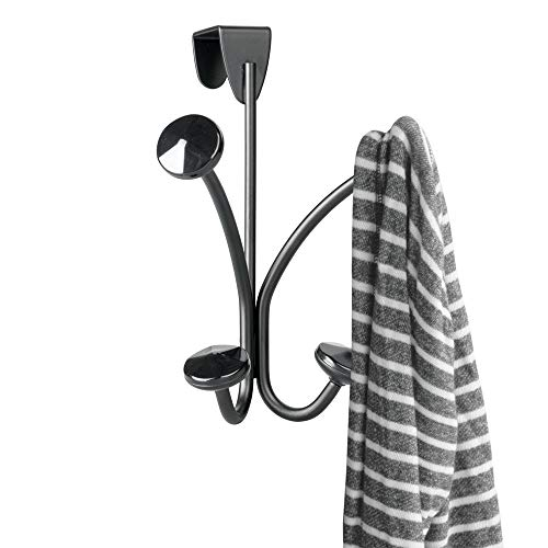 - mDesign Decorative Over Door 4 Hanging Hooks, Steel Storage Organizer Rack for Coats, Hoodies, Hats, Scarves, Purses, Leashes, Bath Towels, Robes, Mens and Womens Clothing - Matte Black