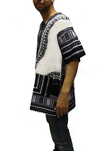 Traditional Thailand African Dashiki Shirt Available 1 Pack Or 2 Pack (1 Pack, White/Black)