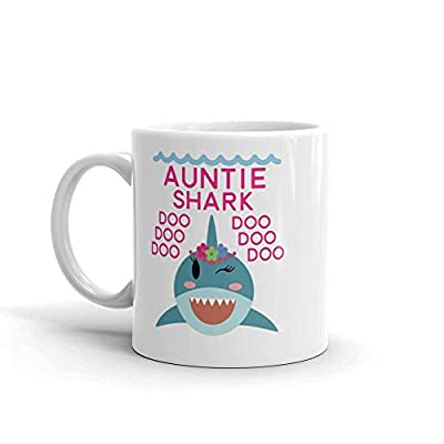 """Shark Auntie"" Unique Ceramic Coffee Mug/Cup (11 oz.) — Birthday Mother's Day Christmas Gift For Mom Mother Grandma"