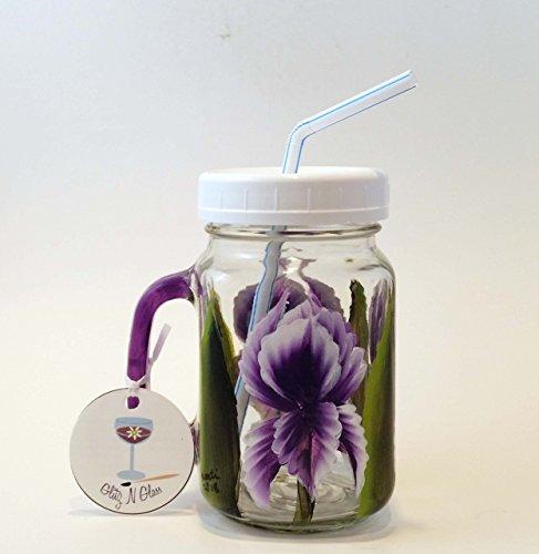 Hand Painted Mason Pint Jar With Iris ()