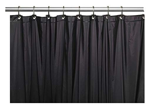 Venice Elegant Home Heavy Duty Vinyl Shower Curtain Liner with 12 Metal Grommets Black (Vinyl Thick Curtain)