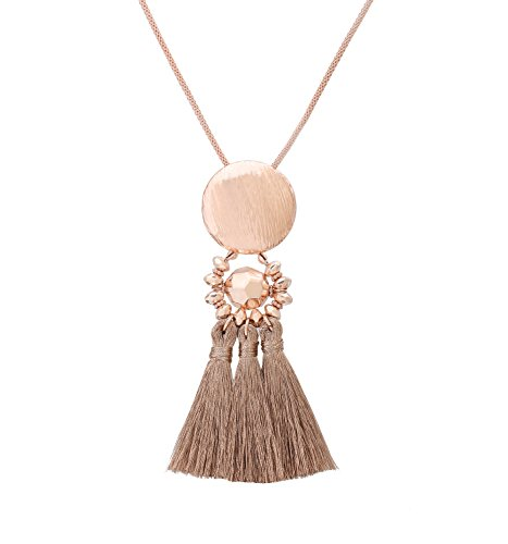 Necklace Pendant Chandelier (Isaloe Long Necklaces for Women Tassel Chandelier Drop Pendant Necklace (Rose Gold))