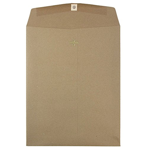 Open End Catalog Envelopes with Clasp Closure - Brown Kraft Paper Bag Recycled - 25/pack (Simpson Kraft Recycled Envelopes)
