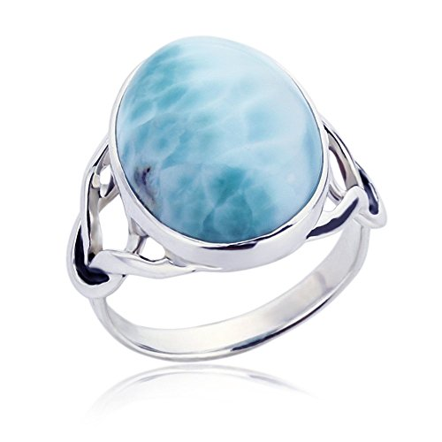 Double Accent Sterling Silver Deep Blue Sea Natural Larimar Stone Celtic Love Knot Cocktail Ring, 9