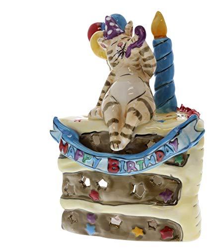 Heather Goldmine Ceramic Birthday Cake Tealight Candle Holder (Blue ()