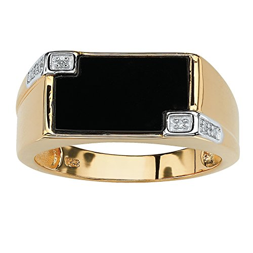 14k Gold Plated Sterling Silver Men's Genuine Black Onyx and Diamond Accent Ring