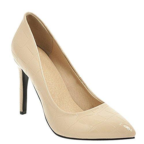 Carolbar Women's Elegant Sexy Stiletto High Heel Pointed Toe Court Shoes Beige 8TjFNA