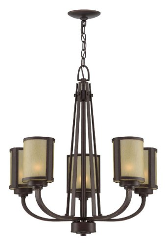 Lite Source LS-18475 Zerlam 5 Chandelier with Light Amber Glass Shade, Aged Bronze Finish