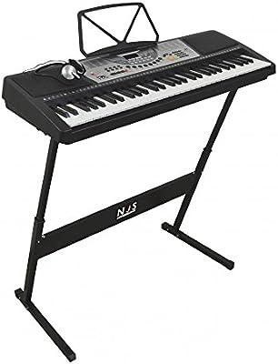 NJS - Kit de teclado electrónico digital de piano (61 teclas ...